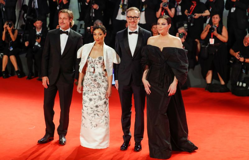 "The 76th Venice Film Festival - Screening of the film ""Ad Astra"" in competition - Red Carpet Arrivals - Venice, Italy, August 29, 2019 - Director James Gray and Actors Brad Pitt, Ruth Negga and Liv Tyler pose. REUTERS/Yara Nardi"