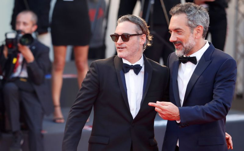 "The 76th Venice Film Festival - Screening of the film ""Joker"" in competition - Red Carpet Arrivals- Venice, Italy, August 31, 2019 - Cast member Joaquin Phoenix and director Todd Phillips pose. REUTERS/Yara Nardi"