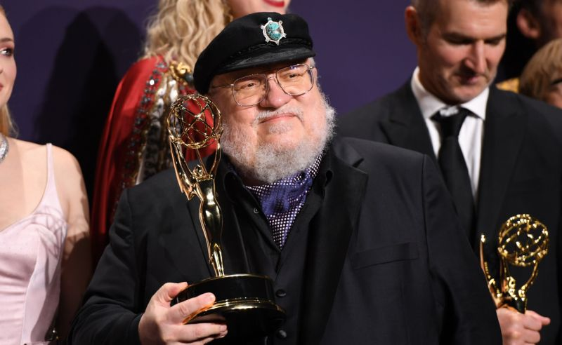 """George R. R. Martin poses with the Emmy for Outstanding Drama Series """"Game Of Thrones"""" during the 71st Emmy Awards on September 22, 2019. (Credit: Robyn Beck/AFP/Getty Images)"""