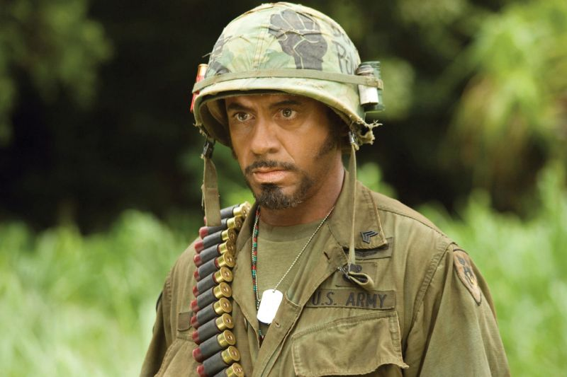 TROPIC THUNDER, Robert Downey Jr., 2008, © DreamWorks/courtesy Everett Collection