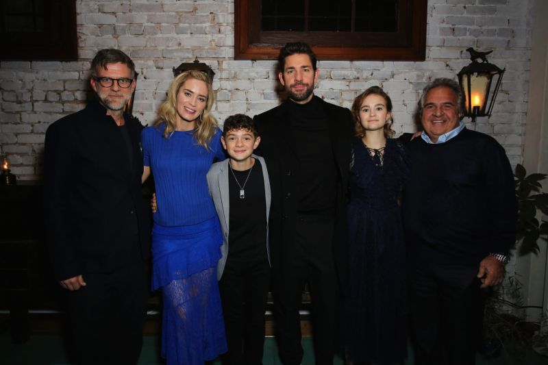 LOS ANGELES, CA - NOVEMBER 27: (L-R) Paul Thomas Anderson, Emily Blunt, Noah Jupe, John Krasinski, Millicent Simmonds and Paramount Pictures Chairman and CEO Jim Gianopulos attend a special screening of 'A Quiet Place' at The Hearth and Hound on November 27, 2018 in Los Angeles, California. (Photo by Rachel Murray/Getty Images for Paramount Pictures)