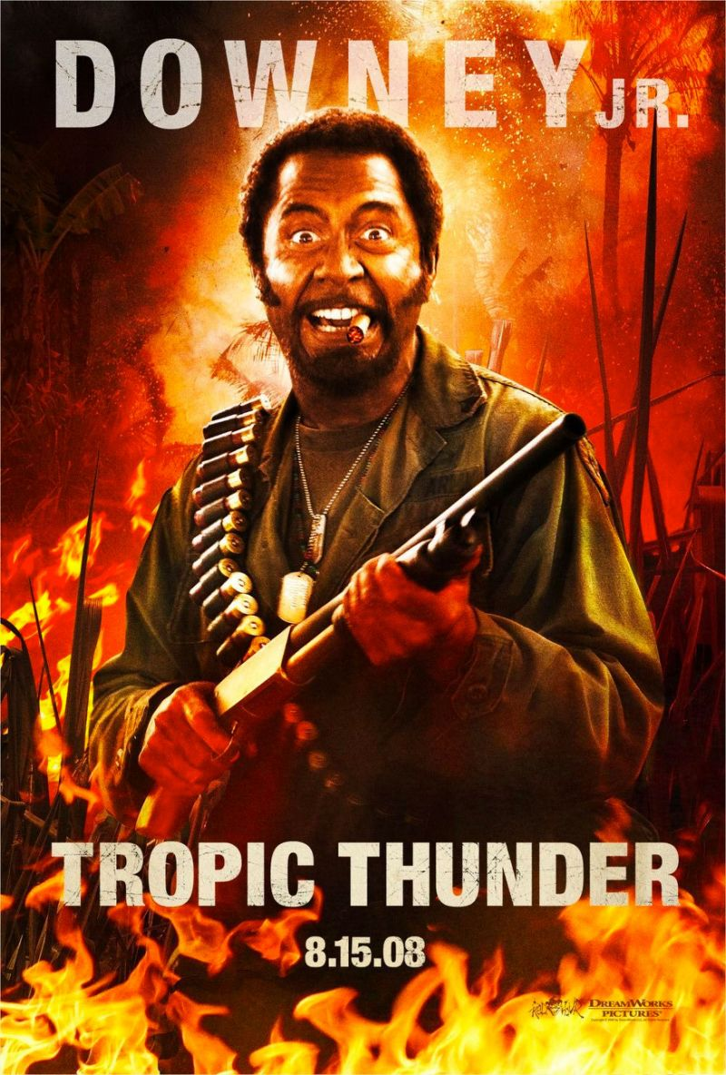Robert Downey Jr. as Kirk Lazarus in Tropic Thunder (Dreamworks)