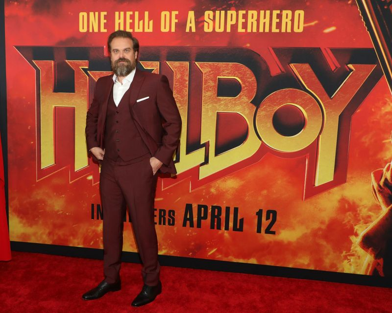 "David Harbour attends the New York premiere of ""Hellboy"" on April 9, 2019. (Photo by Taylor Hill/WireImage)"