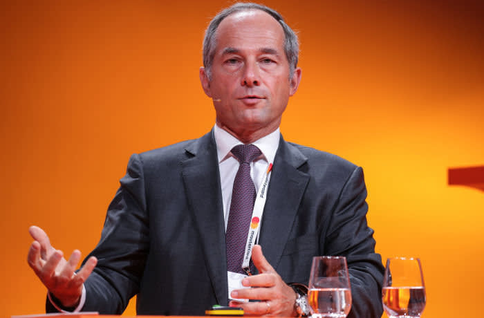 epa07818562 Frederic Oudea, CEO of French Bank Societe Generale and president of the European Banking Federation, speaks during the Handelsblatt Banking Summit 2019 in Frankfurt am Main, Germany, 05 September 2019. The forum runs on 04 and 05 September. EPA-EFE/ARMANDO BABANI
