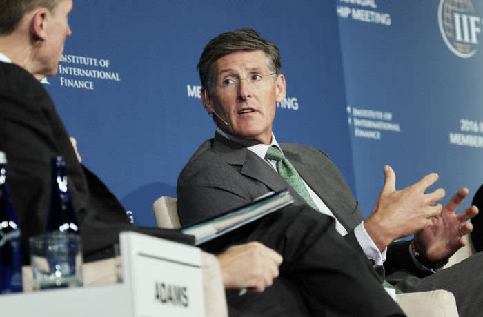 Mike Corbat, chief executive officer of Citigroup Inc., during a panel discussion at the 2016 IIF Annual Membership Meeting (AMM) in Washington, D.C., U.S., on Friday, Oct. 7, 2016. The AMM joins more than 1,500 participants from over 75 countries for the three-day meeting that includes upwards of 150 speakers and 50 panels. Photographer: T.J. Kirkpatrick/Bloomberg